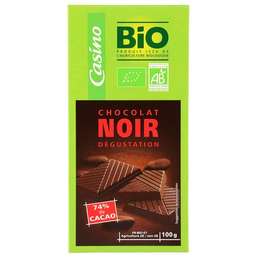CASINO BIO chocolate negro 74% cacao tableta 100 gr