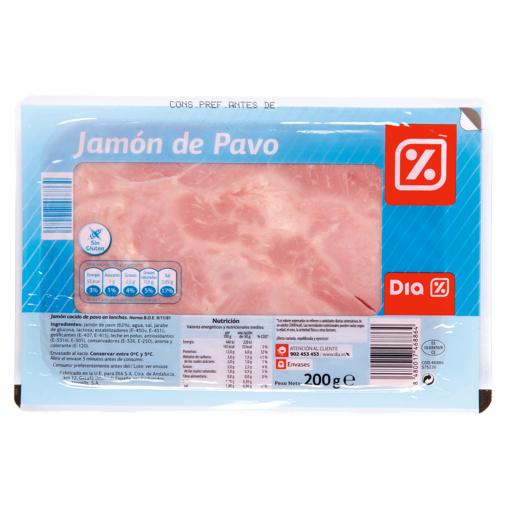 DIA jamón de pavo lonchas sobre 200 gr