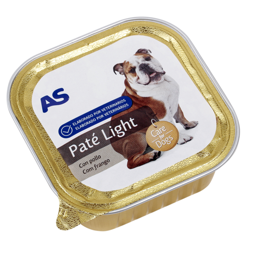 AS paté light para perros con pollo tarrina 150 gr