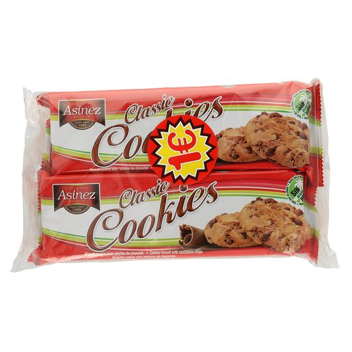 ASINEZ galletas cookies pack 2 x 90 gr