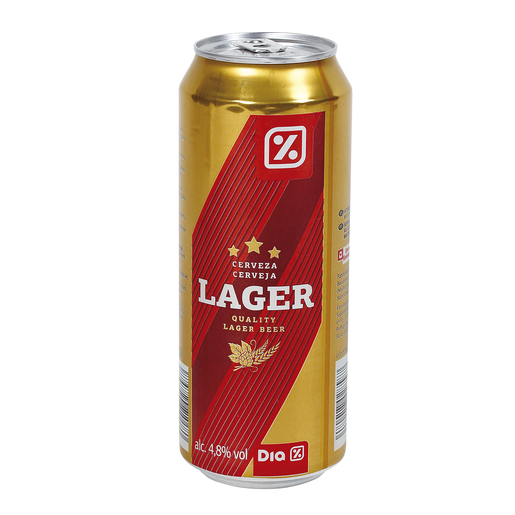 DIA cerveza rubia lager lata 50 cl