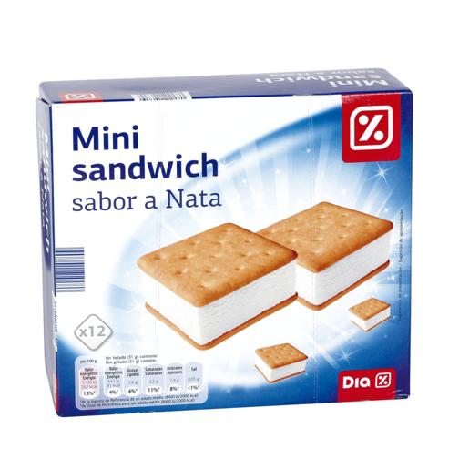 DIA helado mini sandwich sabor nata 12 uds caja 372 gr