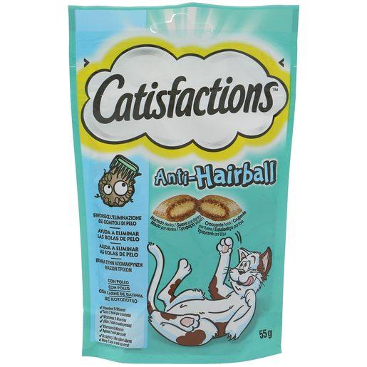 CATISFACTIONS snack para gatos anti bolas de pelo con pollo bolsa 55 gr