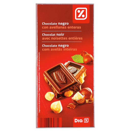 DIA chocolate negro 55% con avellanas tableta 200 gr
