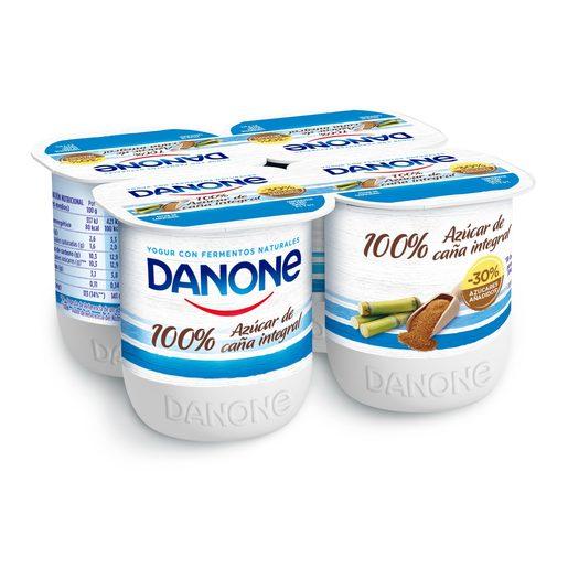 DANONE yogur natural con azúcar de caña pack 4 unidades 125 gr