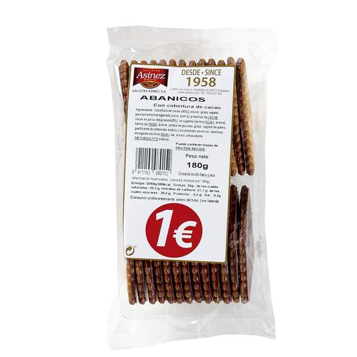 ASINEZ galletas abánicos con cobertura de cacao paquete 180 gr