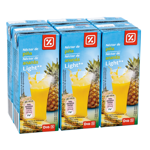 DIA néctar light piña pack 6 unidades 200 ml