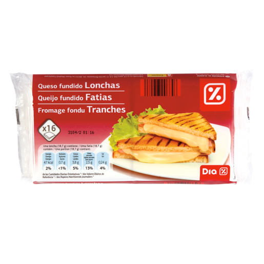 DIA queso fundido 16 lonchas paquete 300 gr