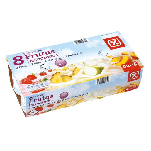 DIA yogur desnatado 0% con frutas pack 8 unidades 125 gr