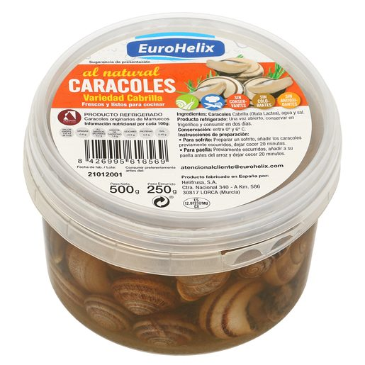 HELIFRUSA caracoles al natural bandeja 500 gr
