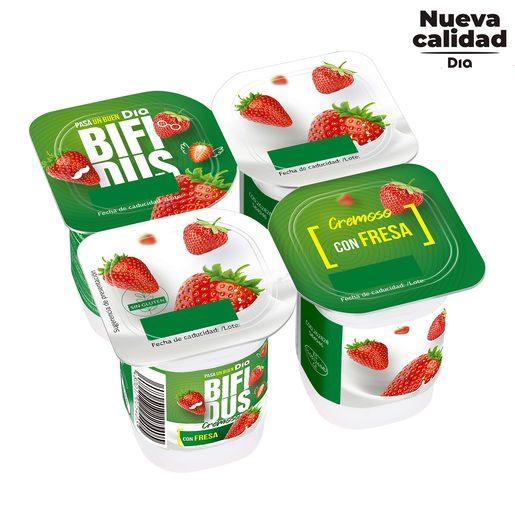 DIA BíFIDUS yogur cremoso sabor fresa pack 4 unidades 125 gr