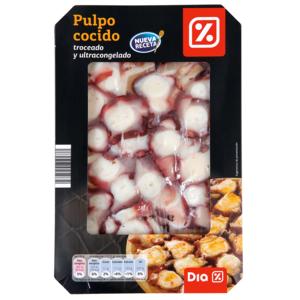 DIA pulpo cocido troceado ultracongelado envase 275 gr