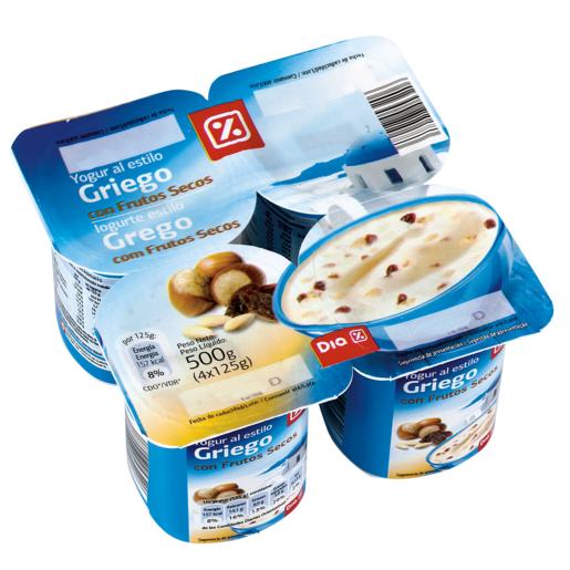 DIA yogur griego con frutos secos pack 4 unidades 125 g