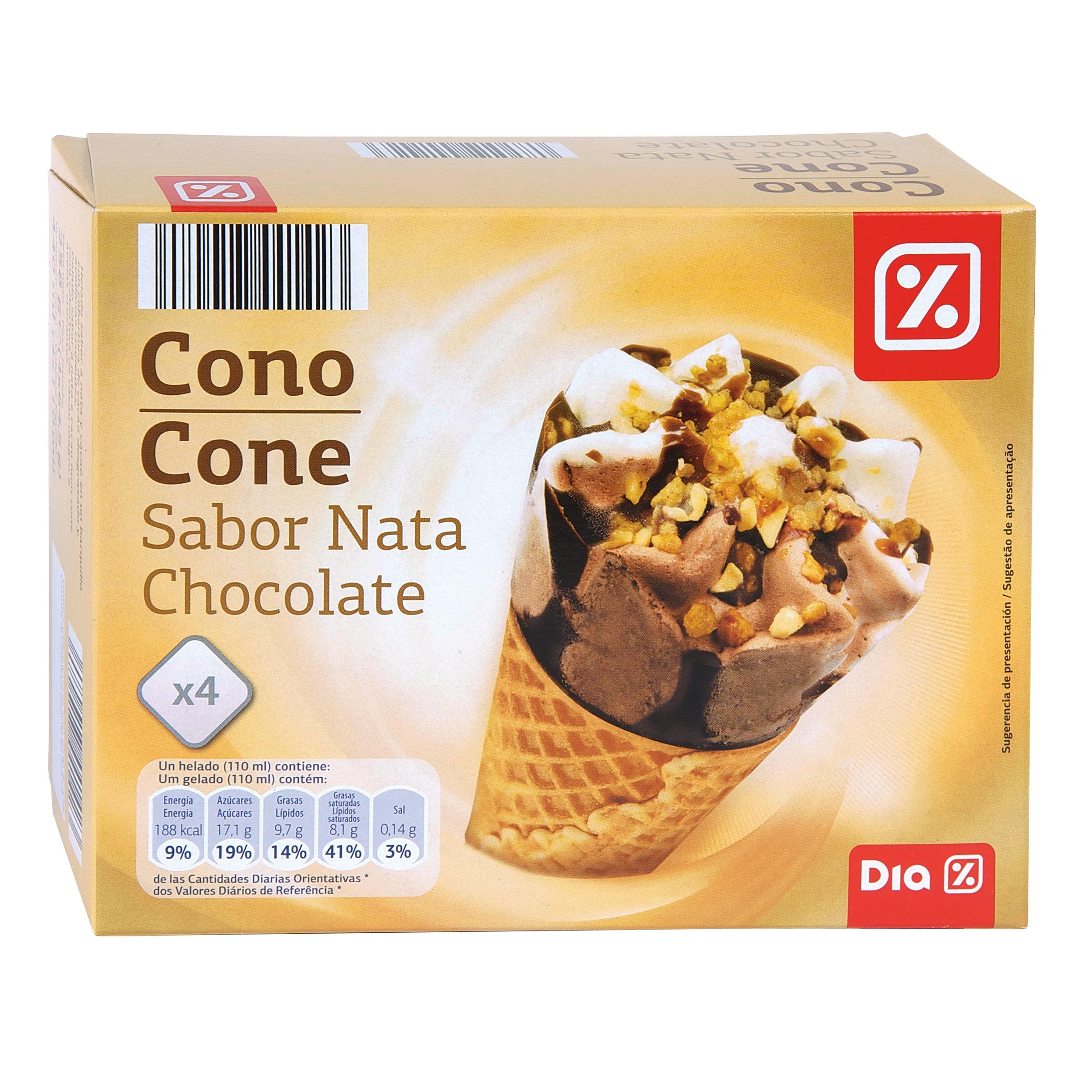 Dia helado cono nata y chocolate caja 4 uds 252 gr conos - Calorias de un cono de helado ...