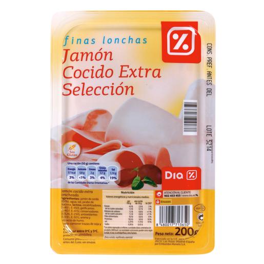 DIA jamón cocido finas lonchas sobre 200 gr