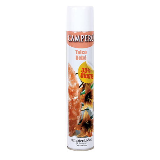 CAMPERO ambientador aroma talco de bebé spray 400 ml