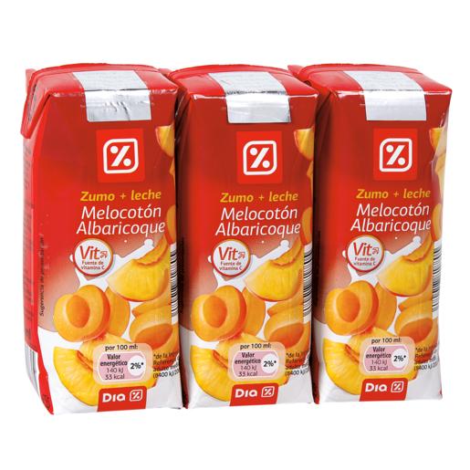DIA bebida de frutas con leche melocotón y albaricoque pack 3 unidades 33 cl