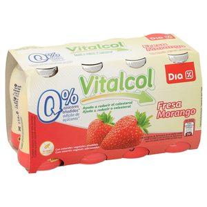 DIA yogur líquido vitalcol reduce colesterol fresa pack 8 unidades 100 ml