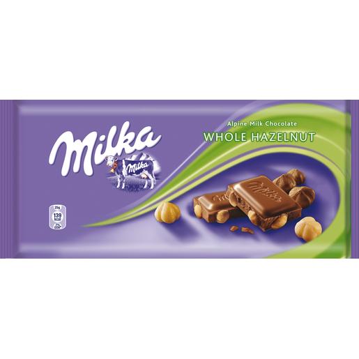 MILKA chocolate con leche y avellanas tableta 100 gr