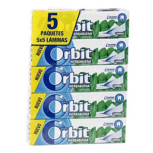 ORBIT chicle láminas sabor hierbabuena paquete 5 uds