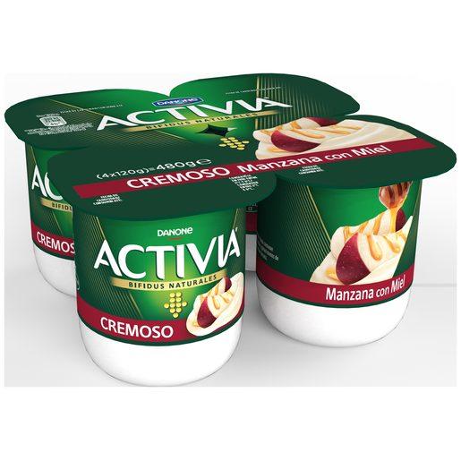 DANONE ACTIVIA bífidus cremoso manzana con miel pack 4 unidades 120 gr