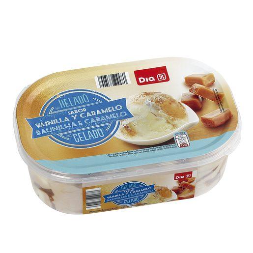 DIA helado sabor vainilla y caramelo barqueta 500 gr