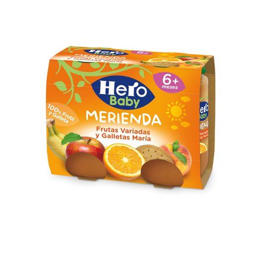 HERO Baby merienda frutas variadas y galleta maría tarrito 2x190 gr