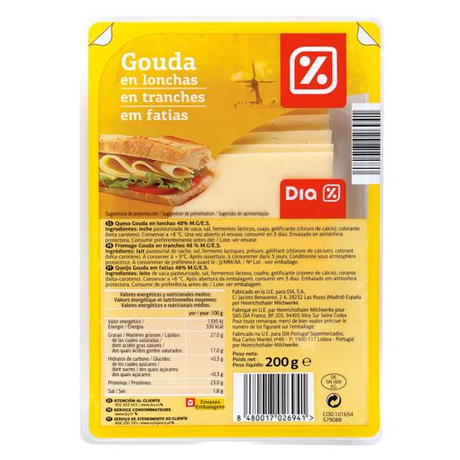 DIA queso gouda lonchas sobre 200 gr