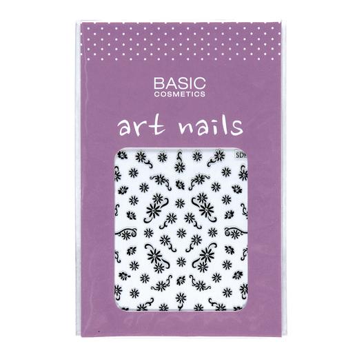 BASIC decoración de uñas 1 Flores Negras