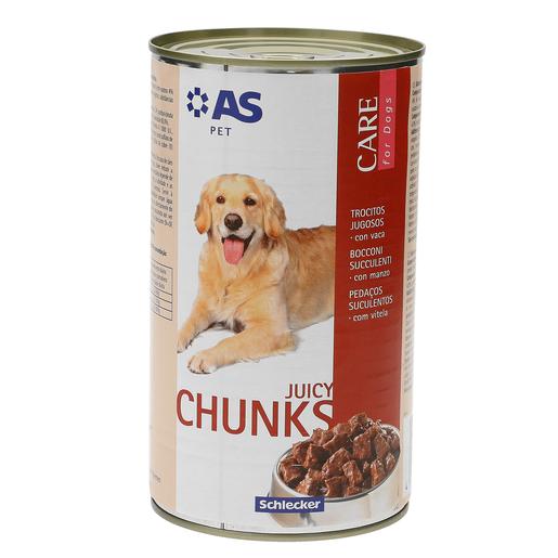 AS trocitos jugosos para perros con vaca lata 1.240 Kg
