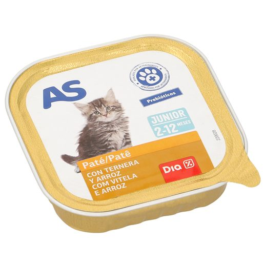 AS paté para gatos junior con ternera tarro 100 gr