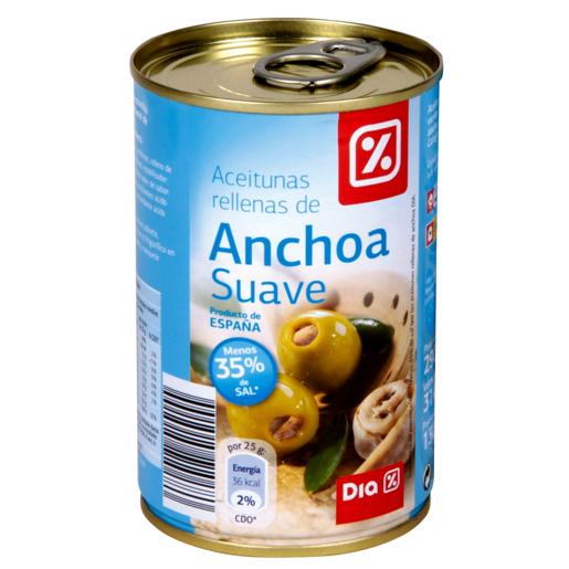 DIA aceitunas rellenas de anchoa suave lata 130 gr