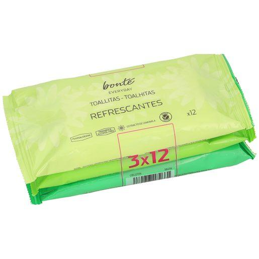 BONTE toallitas refrescantes pack 3 x 12 uds