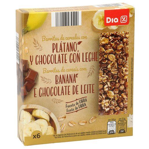 DIA barritas cereales chocolate y platano  caja 6 uds 150 gr