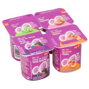 DIA yogur panache con frutas desnatado pack 4 unidades 125 gr