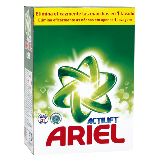 ARIEL Actilift detergente máquina en polvo 31 cacitos
