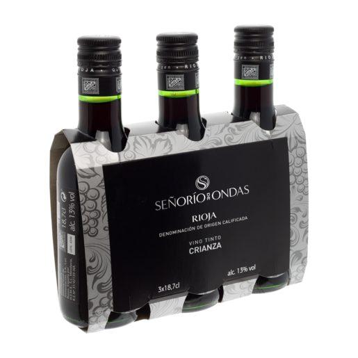 SEÑORIO DE ONDAS vino tinto crianza DO Rioja pack 3 botellas 18,7 cl