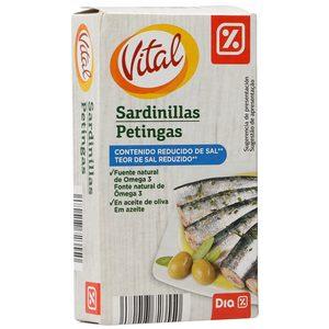 DIA VITAL sardinillas en aceite de oliva bajo en sal lata 62 gr