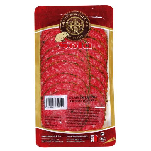 SOLÁ salami extra finas hierbas envase 150 gr