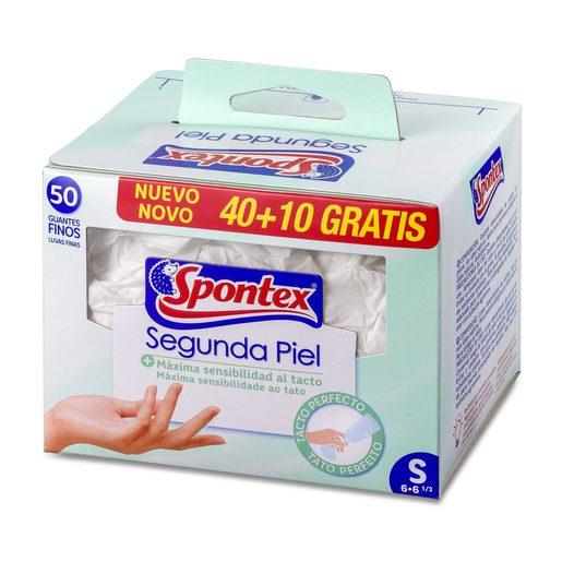 SPONTEX guantes de látex natural talla S caja 40 + 10 uds