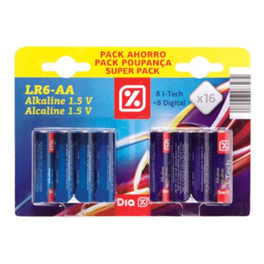 DIA pilas alcalinas LR6-AA pack 8 + 8 uds