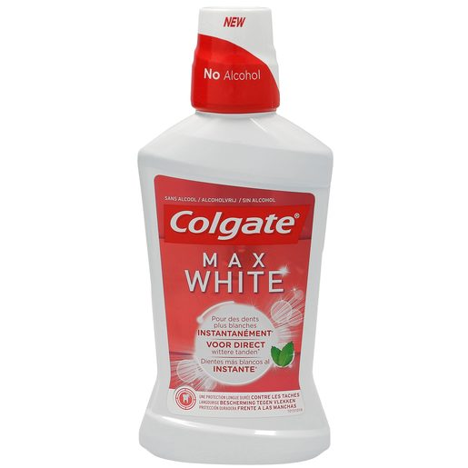 COLGATE enjuague bucal max white al instante sin alcohol botella 500 ml