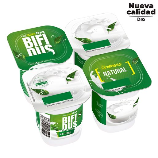 DIA BíFIDUS yogur cremoso natural pack 4 unidades 125 gr