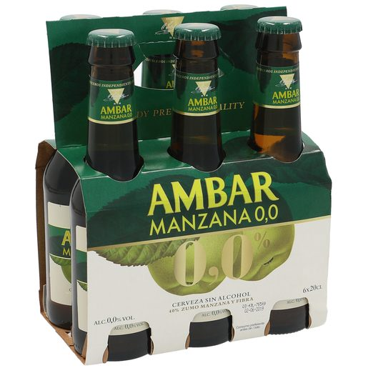 AMBAR cerveza sabor manzana 0,0% alcohol pack 6 botellas 20 cl