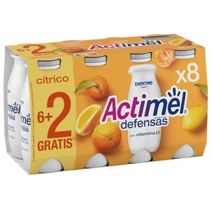 DANONE ACTIMEL yogur líquido cítricos pack 8 unidades 100 gr