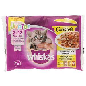 WHISKAS alimento para gatos junior en gelatina casserole aves bolsa 4 x 85 gr