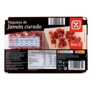 DIA taquitos de jamón curado envase 150 gr