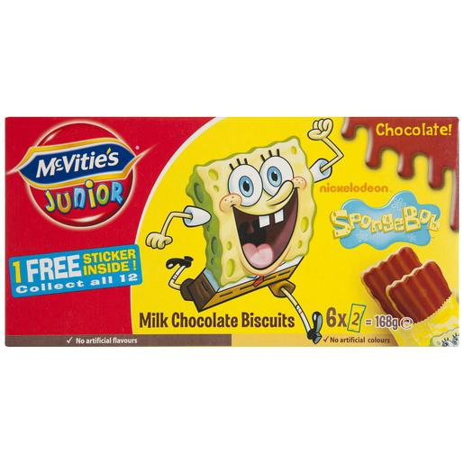 MC VITIÉS Junior galletas bob esponja con chocolate y leche caja 168 gr