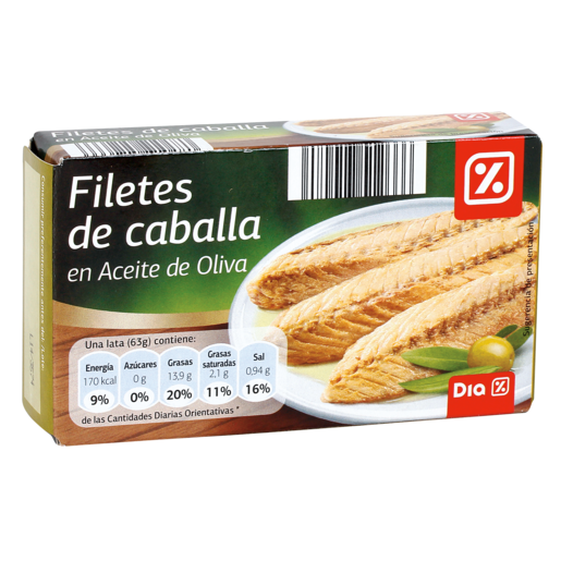 DIA filetes de caballa del sur en aceite de oliva lata 63 gr
