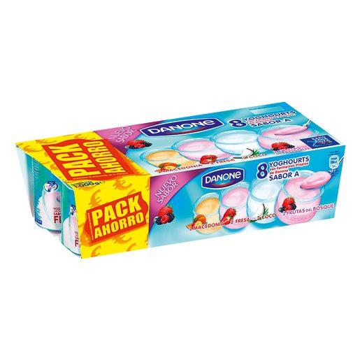 DANONE yogur sabor frutos del bosque-coco-fresa-macedonia pack 8 uds 125 gr